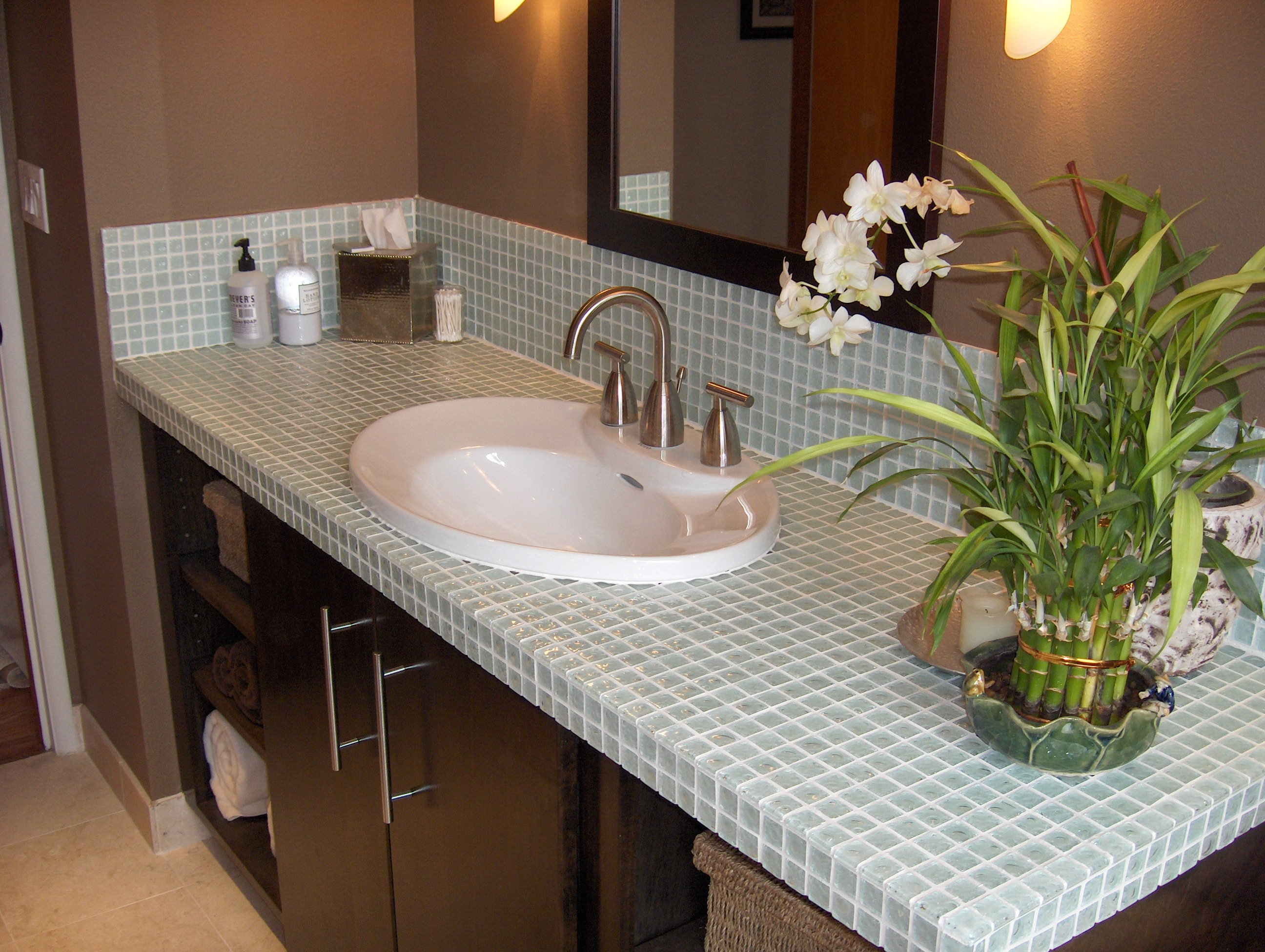 Glass tile countertop and backsplash tiled counters for Bathroom countertops