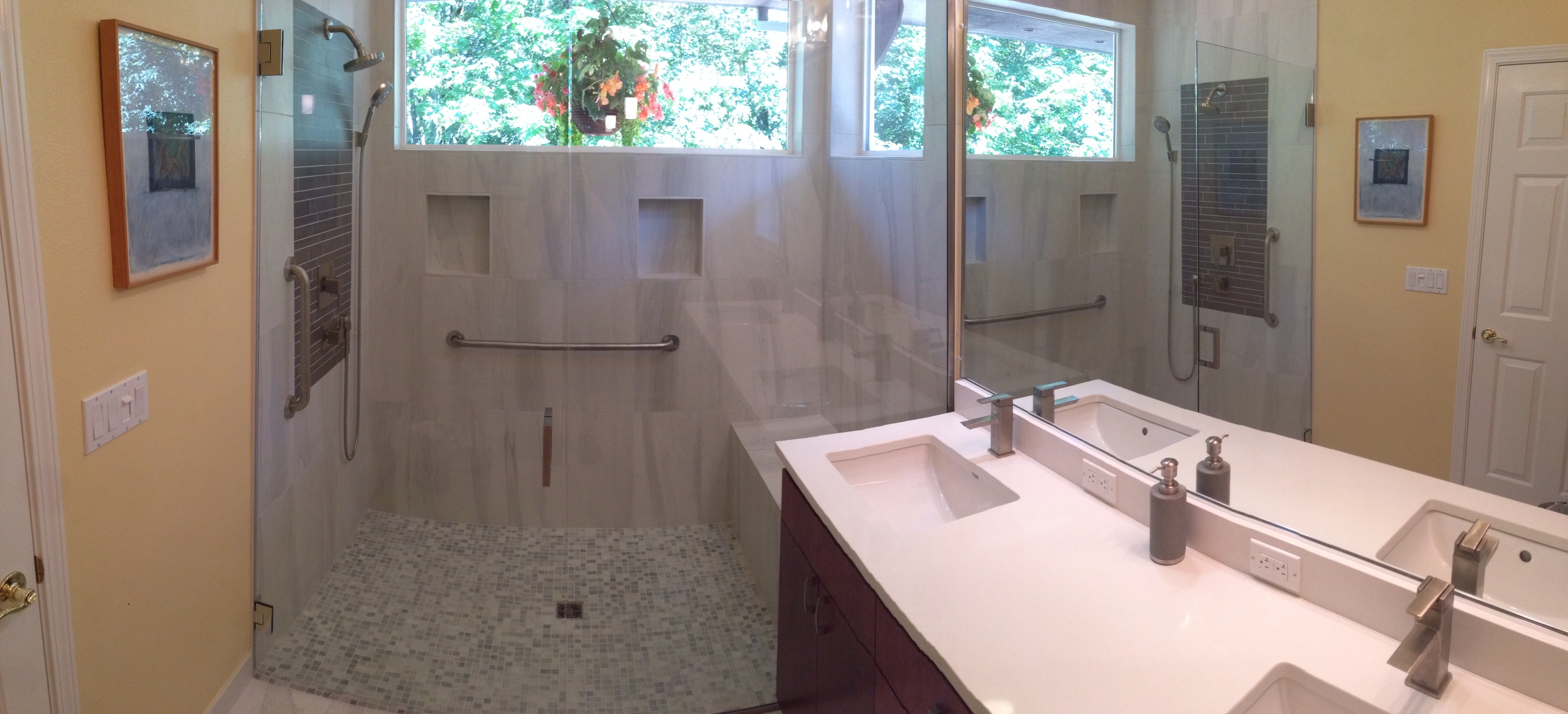 A Curbless Pan Allows Easy Access To The Shower Area. To Achieve This, A